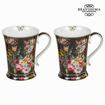 Set med 2 koppar svart blomster - Kitchen's Deco Samling by Bravissima Kitchen
