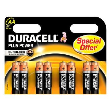 Alkaliska Batterier DURACELL Plus Power DURLR6P8B LR6 AA 1.5V (8 pcs)