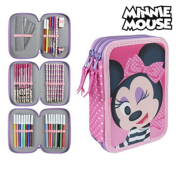 Trippel pennfodral Minnie Mouse 3608 Rosa