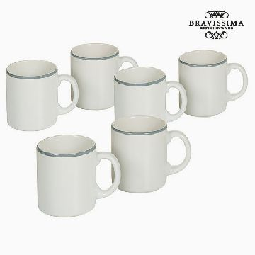 Set of jugs China crockery Vit Blå (6 pcs) - Kitchen's Deco Samling by Bravissima Kitchen