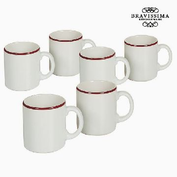 Set of jugs China crockery Vit Bordeaux (6 pcs) - Kitchen's Deco Samling by Bravissima Kitchen