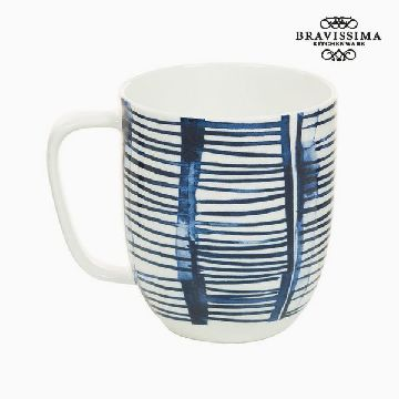 Cup Porslin Ränder Vit - Kitchen's Deco Samling by Bravissima Kitchen