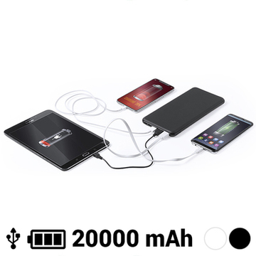 Power Bank 20000 mAh USB-C Lightning Micro USB 145784 Svart