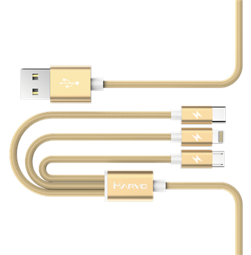 Charging 3 in 1 Lightning Cable Gold 1m