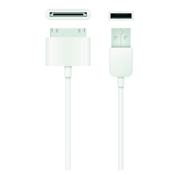 Qnect, USB 2.0 type A male - 30-Pin, 1m, White