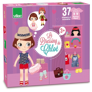 Chloé's dressing - Little wooden magnetic doll to dress up