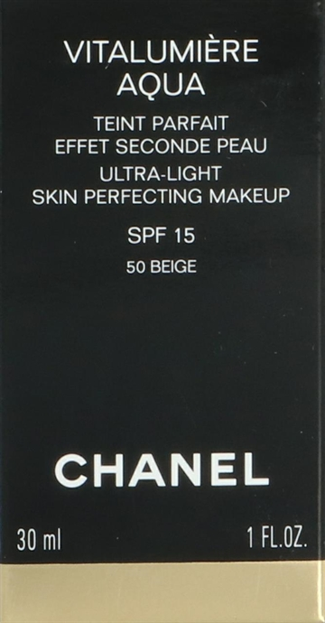 CHANEL Vitalumiere Aqua Ultra Light Skin Perfecting Make Up SPF 15 - 50 BEIGE 30ml