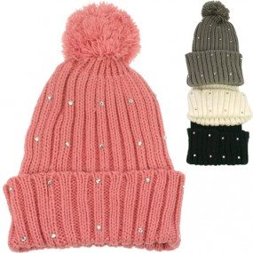 Winter knitted cap women with strassstones