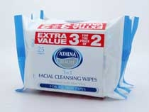 Athena Face Wipes 3In1 25Pk X3