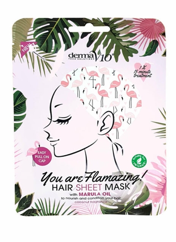 Derma V10 Flamingo Hair Sheet Mask Marula Oil 1Pk