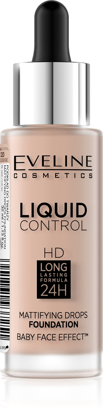 Eveline Liquid Control Foundation With Dropper 020 Rose Beige 32ml