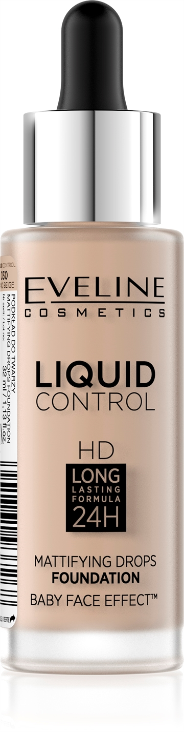 Eveline Liquid Control Foundation With Dropper 030 Sand Beige 32ml