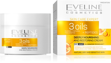 Eveline 3 Oils + Peptides Deeply Nourishing Day/Night Cream 50ml