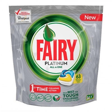 Fairy Platinum All In One Dishwasher Tabs Lemon 63 Cleaning Capsules