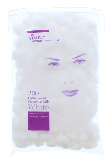 Simply Cotton Wool Cleansing Balls White 200's