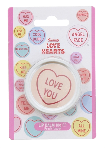 SWIZZELS LOVE HEART 10G LIP BALM PEACH FLAVOUR TIN