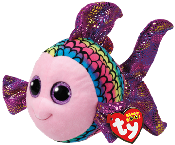Ty Plush - Beanie Boos - Flippy the Multicolored Fish (Medium) (TY37150)