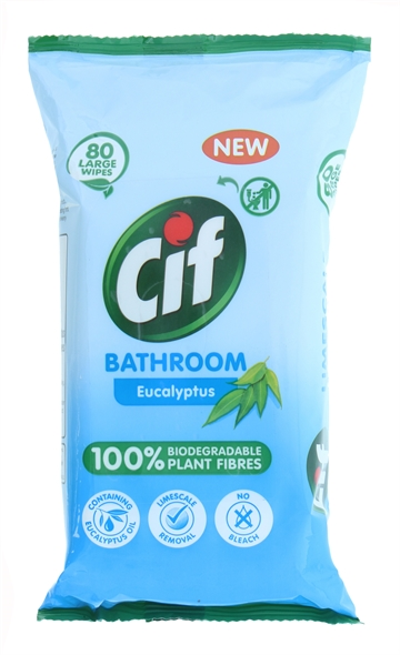 Cif Biodegradable Wipes Bathroom 80'