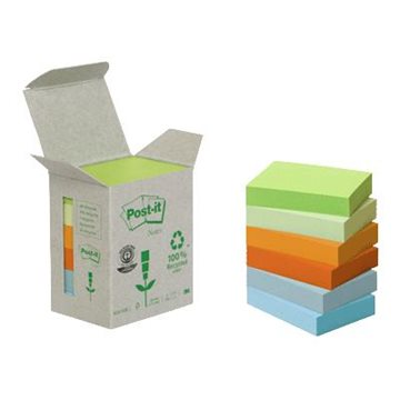 Post-it block 51x38 mm 100% Recycled i assorterade färger