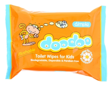 Dimple Doodoo Flushable Kids Toilet Wipes 60'S
