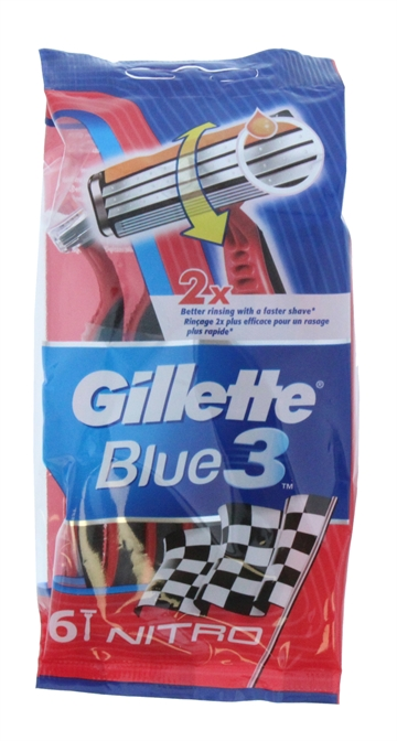GILLETTE 3 BLUE RAZORS NITRO 6'S DISPOSABLE