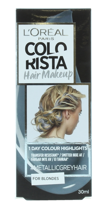 L'Oreal Colorista 30ml Hair Make Up Blonde Colour Highlights Metallic Grey 30