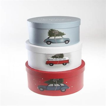 Storage box.S;H12xDia20, M:H13xDia22, L:H14xDia24cm. 3/set,Bring home Christmas,