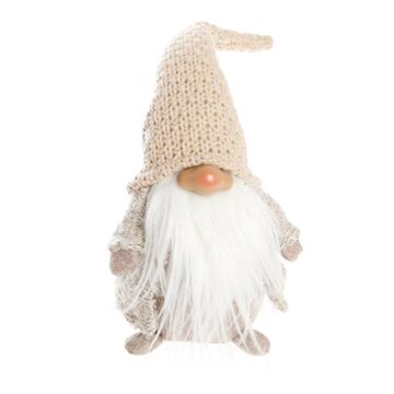 Gnome, H 34cm, W 10cm, D 13cm, White/ Light brown