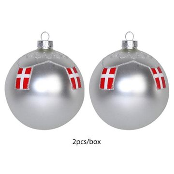 Star Collection, Ball for hanging, Dia. 8cm 2/box, Silver